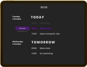Heedy kalender med aktiviteter och påminnelser för dagen - kognitivt stöd